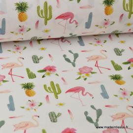 Tissu popeline coton imprimé cactus, ananas et flamants roses