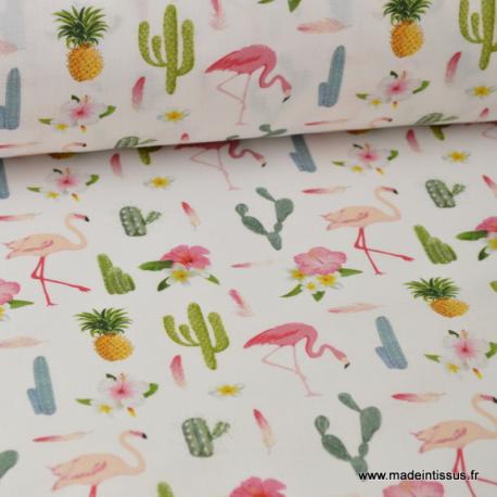 Tissu popeline coton imprimé cactus et flamants roses