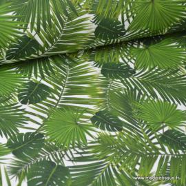 Tissu popeline coton imprimé feuilles de palme Tropical Leaft Vert