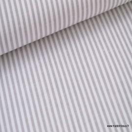 Tissu popeline coton rayures grises et blanches tissé teint