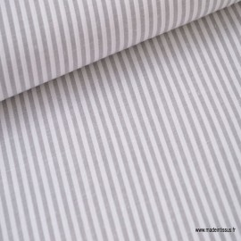 Tissu popeline coton rayures grises et blanches tissé teint .x1m