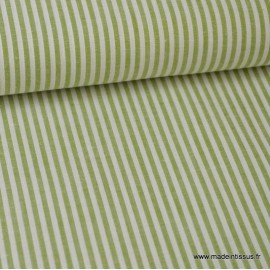 Tissu Popeline coton rayures Fenouil et blanches tissé teint