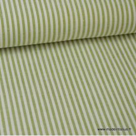 Popeline coton rayures Fenouil et blanches tissé teint .x1m