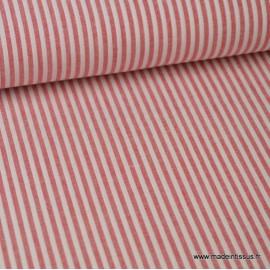 Tissu coton rayures rouges et blanches tissé teint .x1m