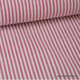 Tissu Popeline coton rayures cerise et blanc tissé teint .x1m