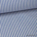 Tissu coton rayures bleues et blanches tissé teint
