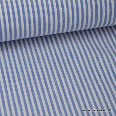 Popeline coton rayures bleues et blanches tissé teint .x1m