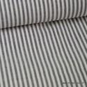 Tissu Popeline coton rayures noires et blanches tissé teint .x1m