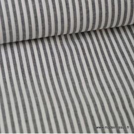Popeline coton rayures noires et blanches tissé teint .x1m