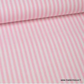 Tissu coton rayures roses et blanches tissé teint - Oeko tex