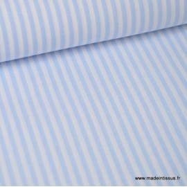 Tissu Popeline coton rayures ciel et blanches tissé teint .x1m