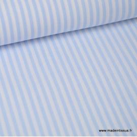 Popeline coton rayures ciel et blanches tissé teint .x1m