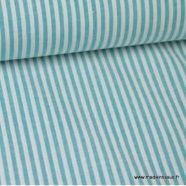 Tissu Popeline coton rayures canard et blanches tissé teint .x1m