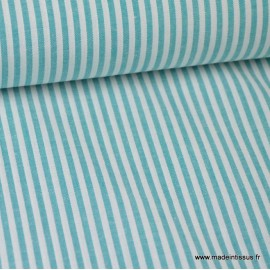 Popeline coton rayures pétrole et blanches tissé teint .x1m