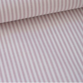 Tissu popeline coton rayures PARME et blanches tissé teint .x1m