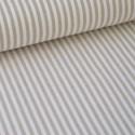 Tissu popeline coton rayures SABLE (beige) et blanches tissé teint