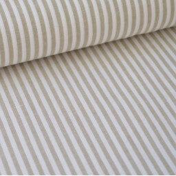 Tissu popeline coton rayures SABLE (beige) et blanches tissé teint X50 CM