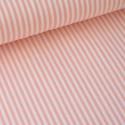Tissu popeline coton rayures CORAIL et blanches tissé teint .x1m