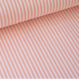 Tissu popeline coton rayures CORAIL et blanches tissé teint