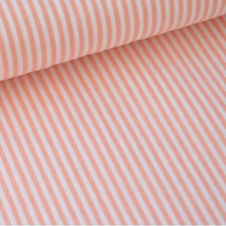 Tissu popeline coton rayures CORAIL et blanches tissé teint X50 CM