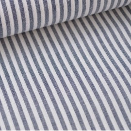 Tissu popeline coton rayures bleu marine et blanches tissé teint