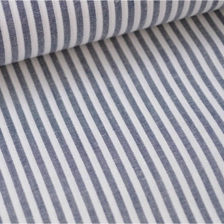 Tissu popeline coton rayures bleu marine et blanches tissé teint X50 CM