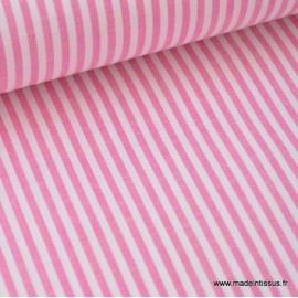 Tissu popeline coton rayures tissé teint coloris fuchsia .x1m