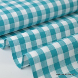 Popeline tissu 100% coton vichy grands carreaux coloris canard x1m