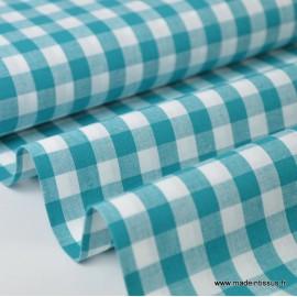 Tissu vichy grands carreaux sur Popeline coloris Canard - Oeko tex