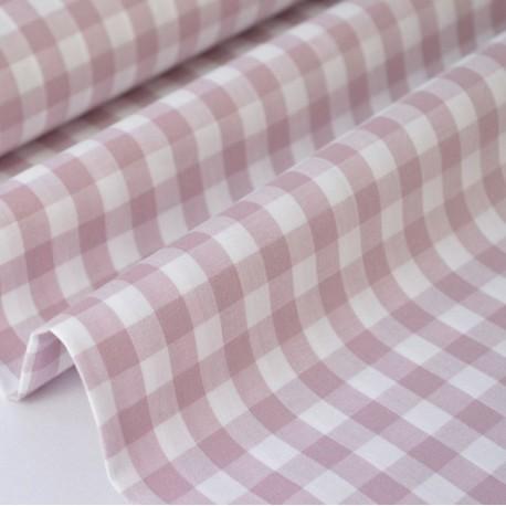 Popeline tissu 100% coton vichy grands carreaux coloris Parme X50 cm