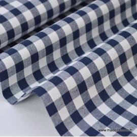 Tissu vichy grands carreaux sur Popeline coloris Bleu marine