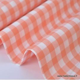 Tissu vichy grands carreaux sur Popeline coloris Corail