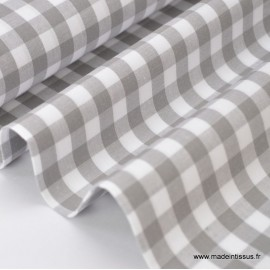Tissu vichy grands carreaux sur Popeline coloris gris