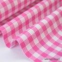 Tissu vichy grands carreaux sur Popeline coloris Fuchsia - Oeko Tex