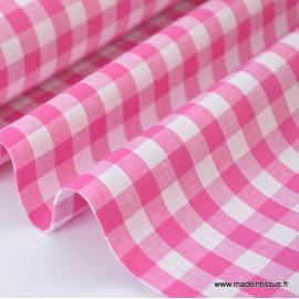 Popeline 100% coton vichy grands carreaux coloris rose pastel X50 cm