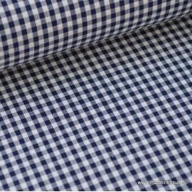 Tissu vichy petits carreaux 100%coton BLEU MARINE