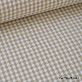 Tissu vichy petits carreaux 100%coton SABLE   - Oeko Tex