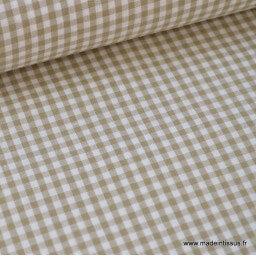 Tissu vichy petits carreaux 100%coton SABLE  x50cm