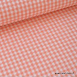 Tissu vichy petits carreaux 100%coton CORAIL .x1m