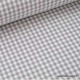 Tissu vichy petits carreaux 100%coton GRIS .x1m