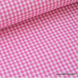 Tissu vichy petits carreaux 100%coton fuchsia .x1m