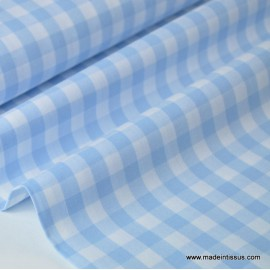 Tissu vichy grands carreaux sur Popeline coloris bleu ciel