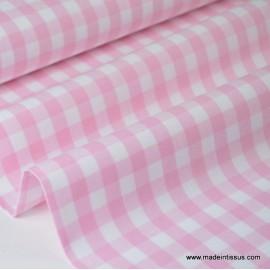 Tissu vichy grands carreaux sur Popeline coloris Rose clair