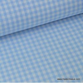 Tissu vichy petits carreaux coton bleu et blanc