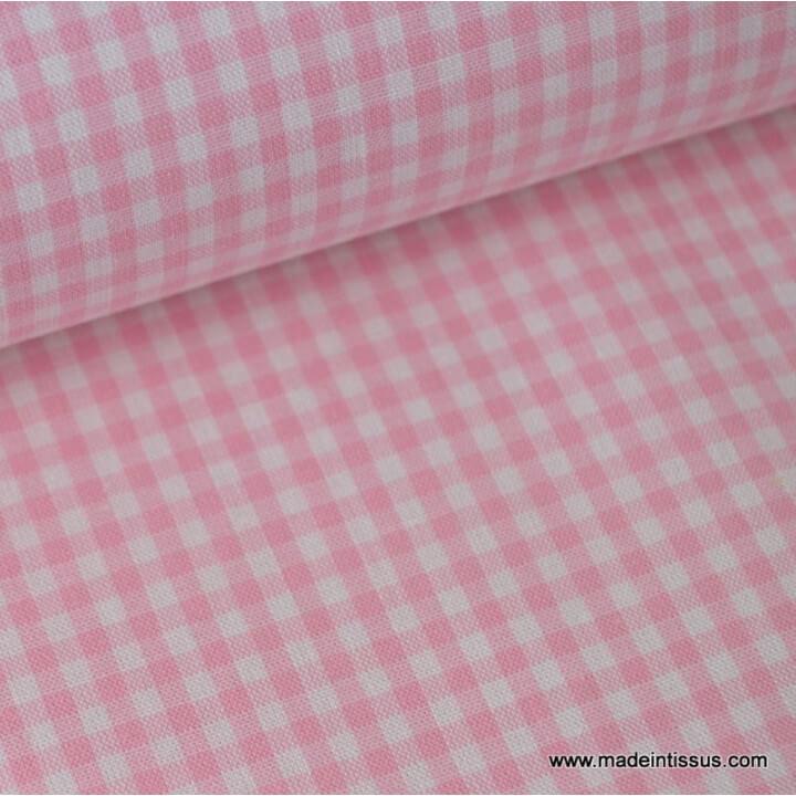 Tisu Popeline coton vichy petits carreaux rose et blanc