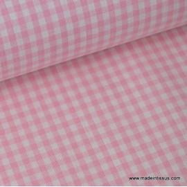 Tissu vichy petits carreaux 100%coton rose et blanc