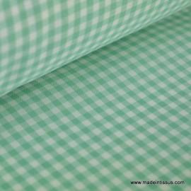 Tissu vichy polyester coton vert et blanc .x1m