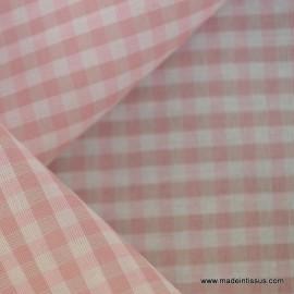 Tissu vichy polyester coton rose et beige .x1m