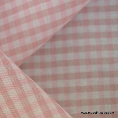 tissu vichy en polyester rosqe et ecru petits carreaux