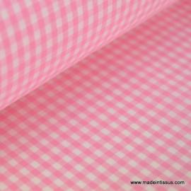 Tissu vichy polyester coton rose et blanc .x1m